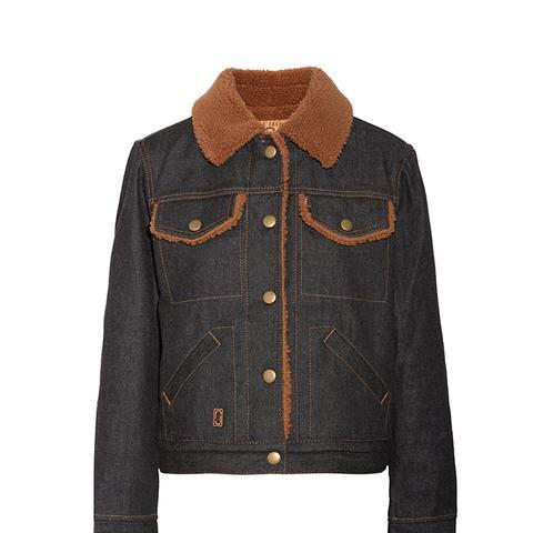 Faux Shearling-Lined Denim Jacket