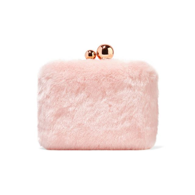 Sophia Webster Vivi Leather Trimmed Fur Clutch