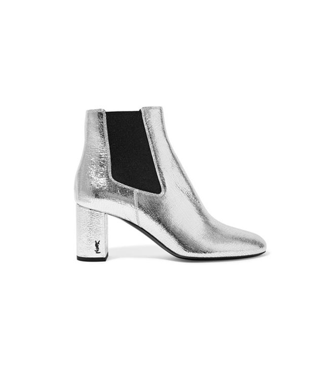 Saint Laurent Loulou Metallic Ankle Boots Cut to us wearing these with all our cropped raw-hem denim.
