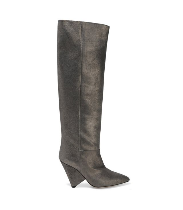 Isabel Marant Loyko Metallic Brushed-Leather Knee Boots Exactly what you want to wear under that ribbed-knit dress.