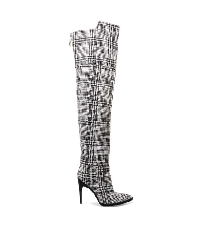 Off-White Tartan Over-the-Knee Boots These are the boots Bella Hadid wore to open Off-White's F/W 17 show in head-to-toe plaid—if you have not seen this look, please google it....