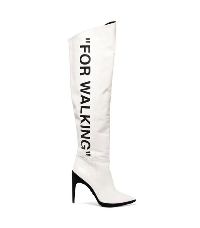 Off-White For Walking Over-the-Knee Boot This softly creased white leather only gets better with age.