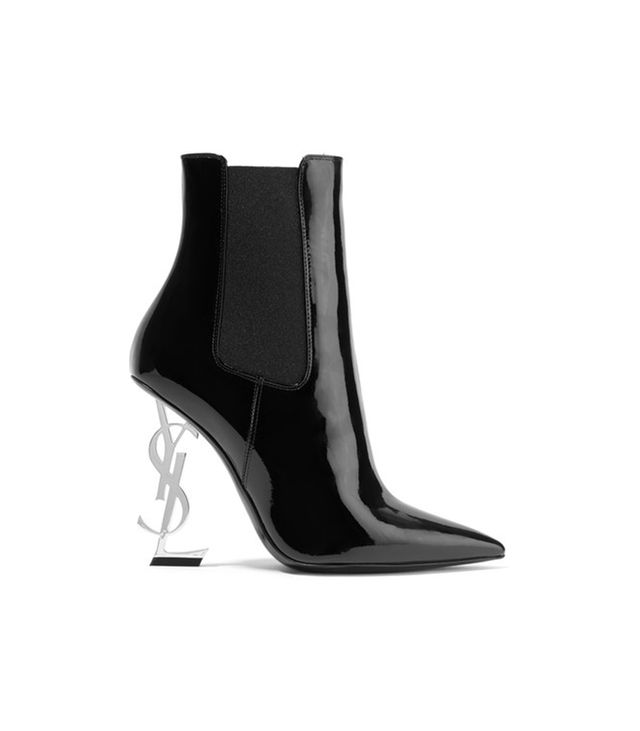 Saint Laurent Opyum Patent-Leather Ankle Boots Anthony Vaccarello'slogo-heel pumps are all grown up and ready for fall.