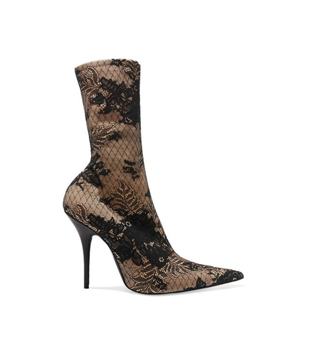BalenciagaLace and Spandex Sock Boots Speaking of sock boots, this lace-finish style couldn't look better with leather.