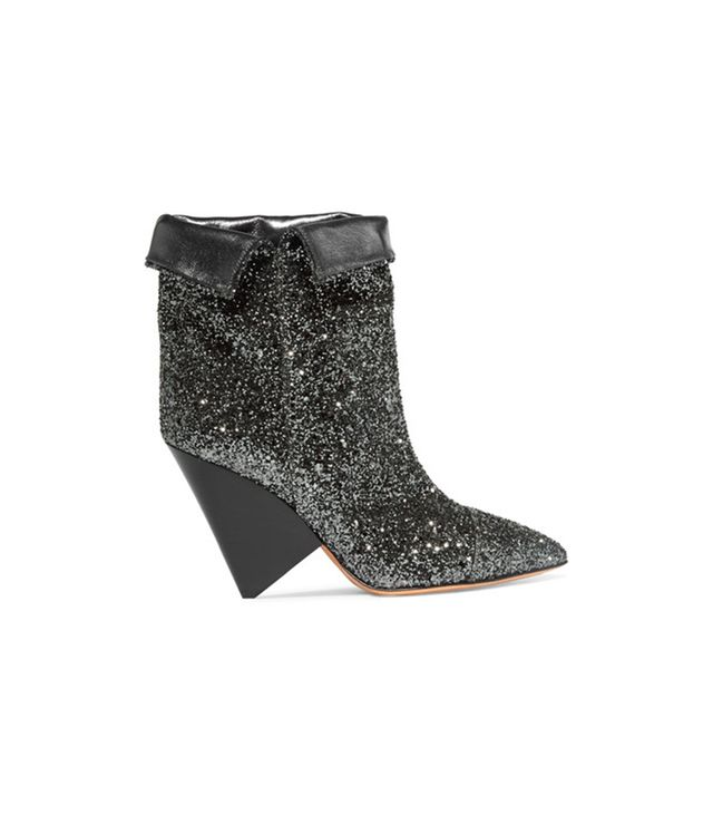 Isabel MarantLuliana Glittered Leather Ankle Boots Straight from the runway, these boots are super-comfortable thanks to Isabel Marant's signature conical heel.