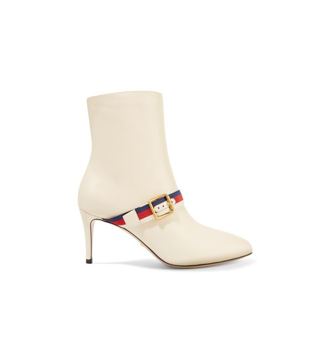 Gucci Grosgrain-Trimmed Ankle Boots We'll never get tired of gold buckles and that signature Gucci webbing.