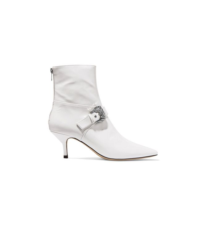 Dorateymur Saloon Buckled Patent Leather Ankle Boot We love that these Dorateymur boots are all about the details, from the Western-inspired buckle to the chic red lining.
