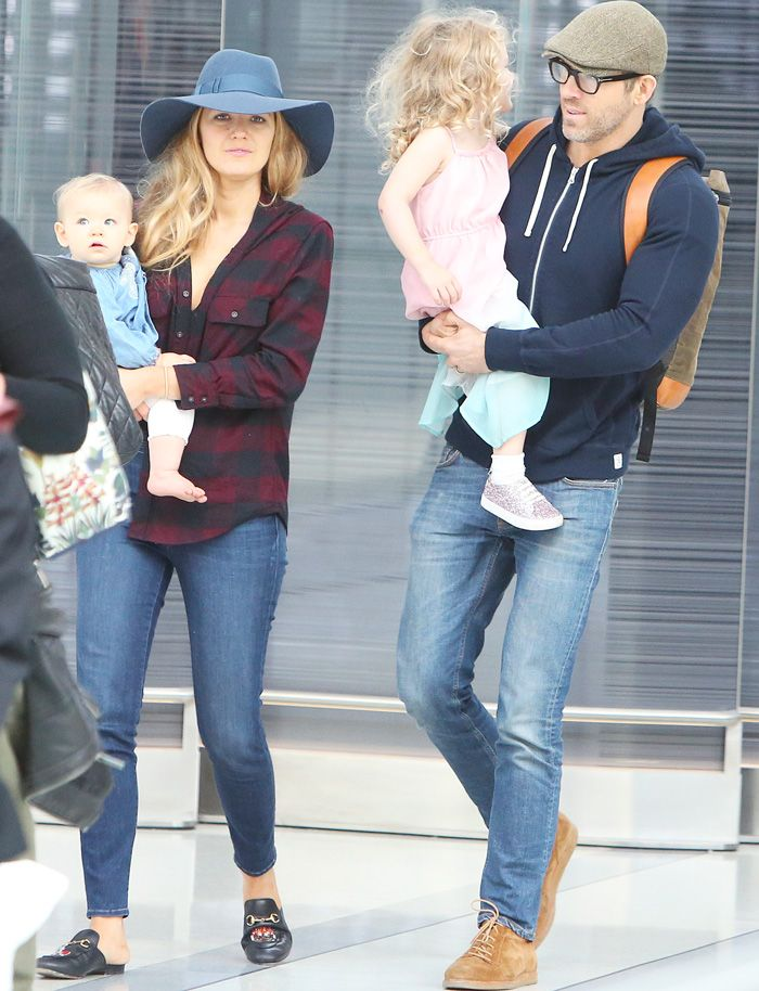 Blake Lively wearing Gucci with Ryan Reynolds and children at Toronto airport