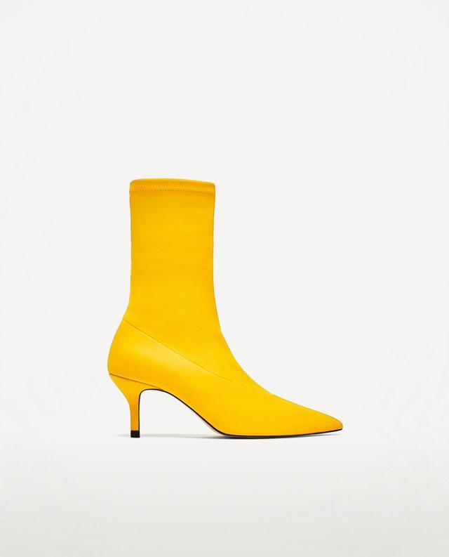 Zara Fabric High-Heel Ankle Boots