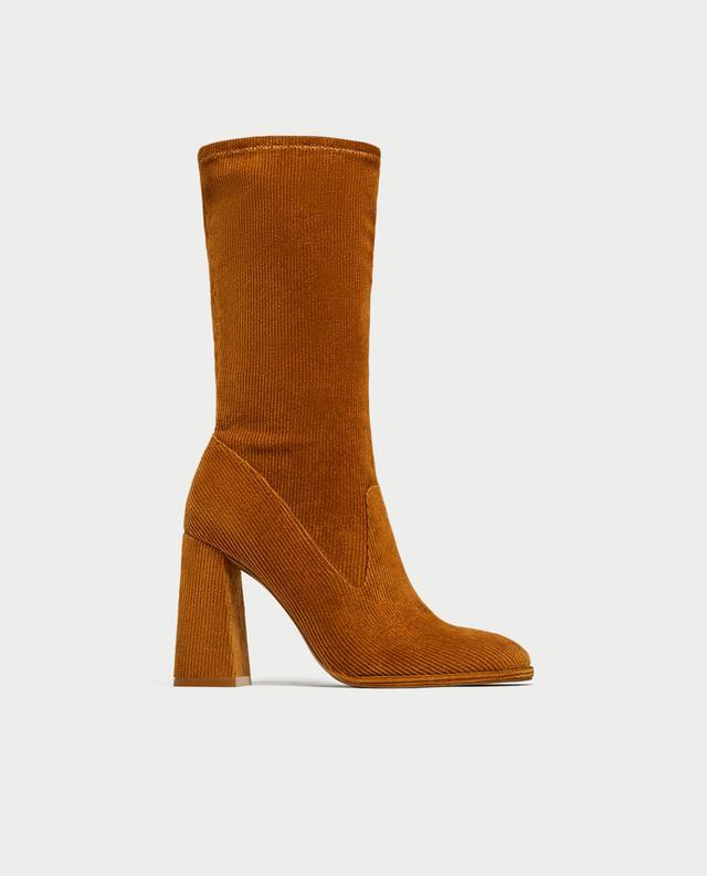 Zara Corduroy High-Heel Ankle Boots