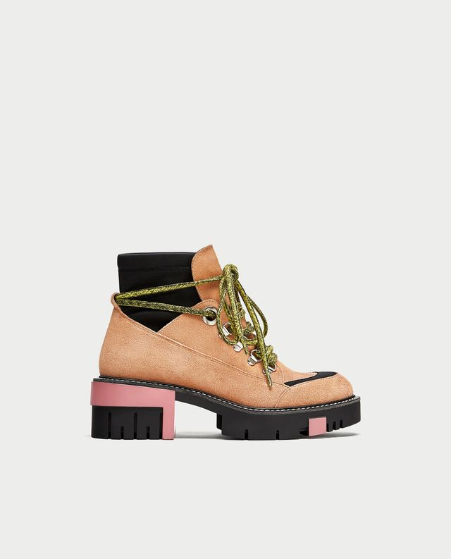 Zara Split Suede Ankle Boots With Track Sole