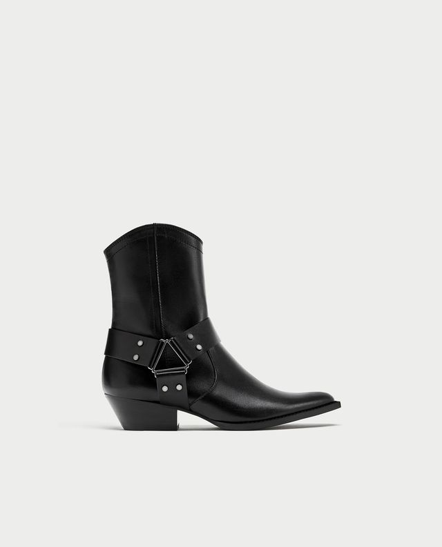 Zara Leather Cowboy Style Ankle Boots