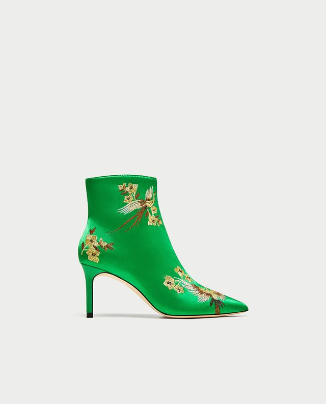 Zara Embroidered Satin High-Heel Ankle Boots
