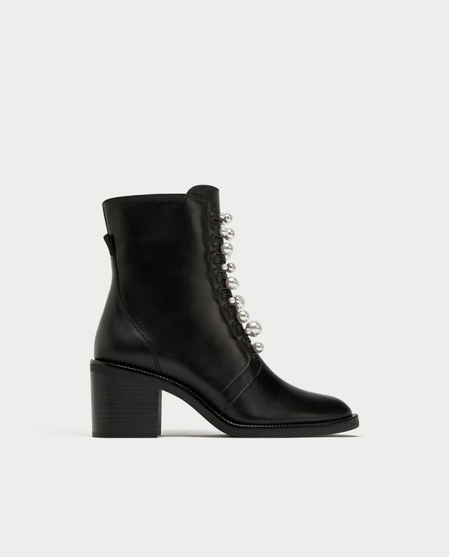 Zara High-Heel Leather Ankle Boots With Faux Pearls