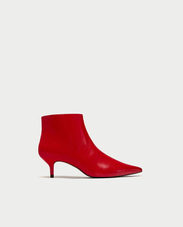 Zara Red Mid-Heel Ankle Boots