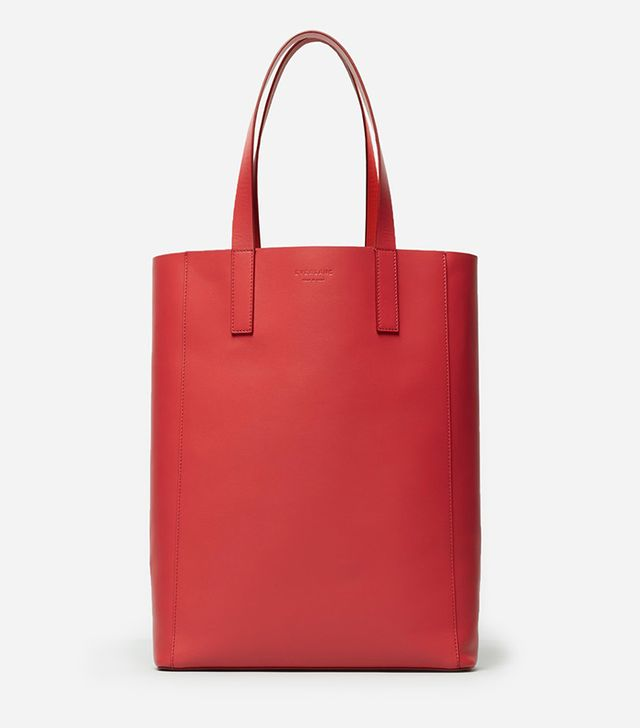 Women's Leather Magazine Tote Bag by Everlane in Red