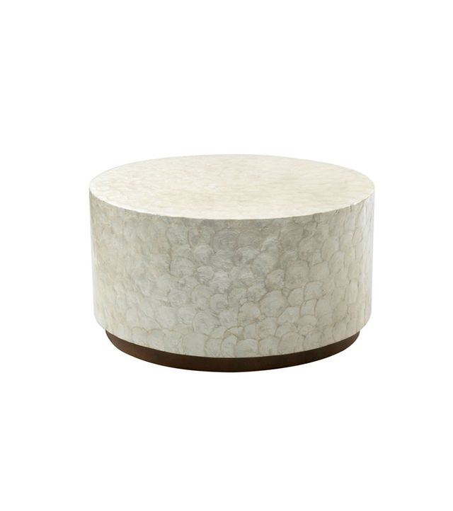 East at Main Rowden Off-White Wood and Capiz Round Coffee Table