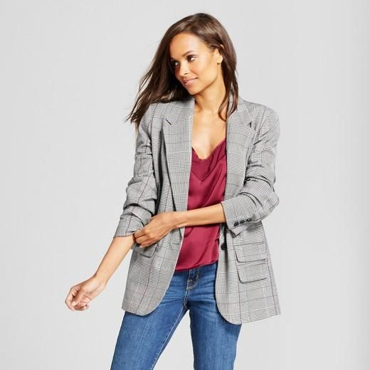 Women's Plaid Boyfriend Blazer