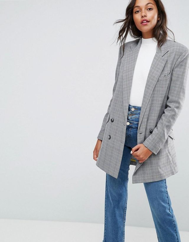 Longline Blazer in Check Print