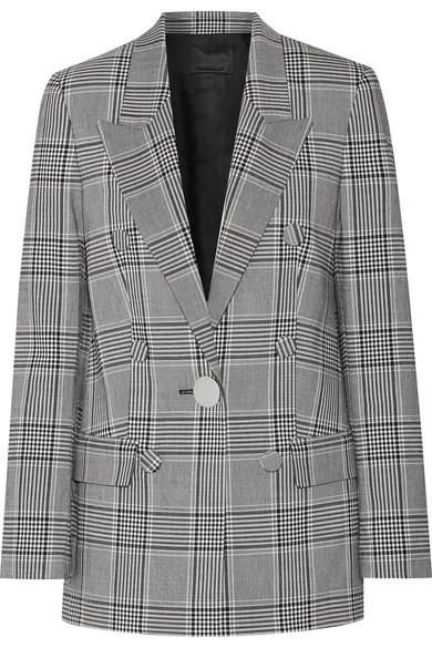 Leather-trimmed Checked Crepe Blazer