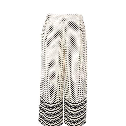 Spot Stripe Crop Maternity Trousers