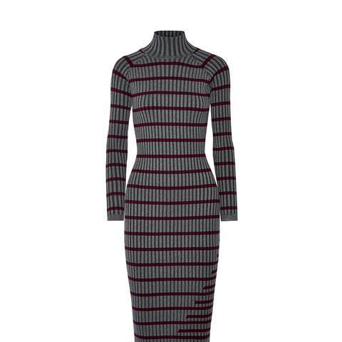 Striped Ribbed Stretch-Knit Midi Dress
