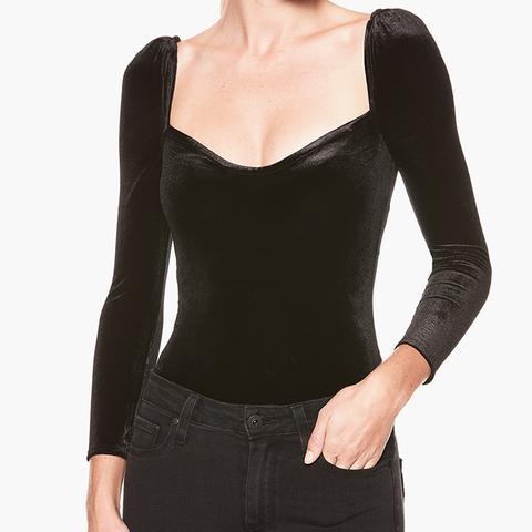 Delsie Bodysuit in Black Velvet