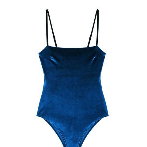 Velvet Straight-Neck Swimsuit