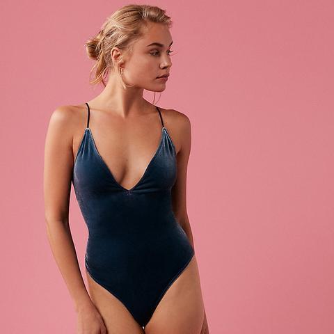 Petite Plunging V-Neck Velvet Thong Bodysuit