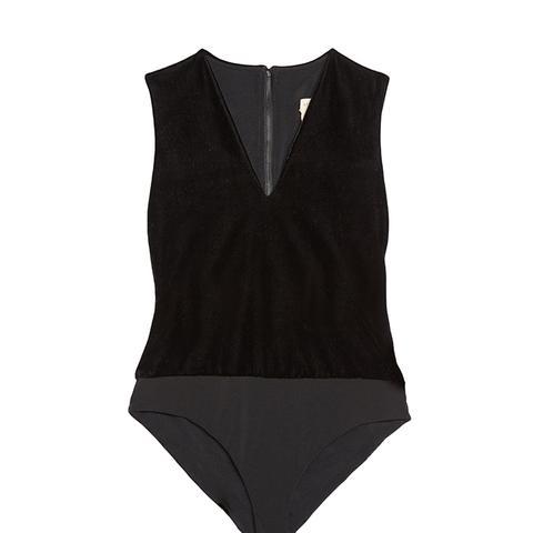 Marley Velvet V-neck Sleeveless Bodysuit