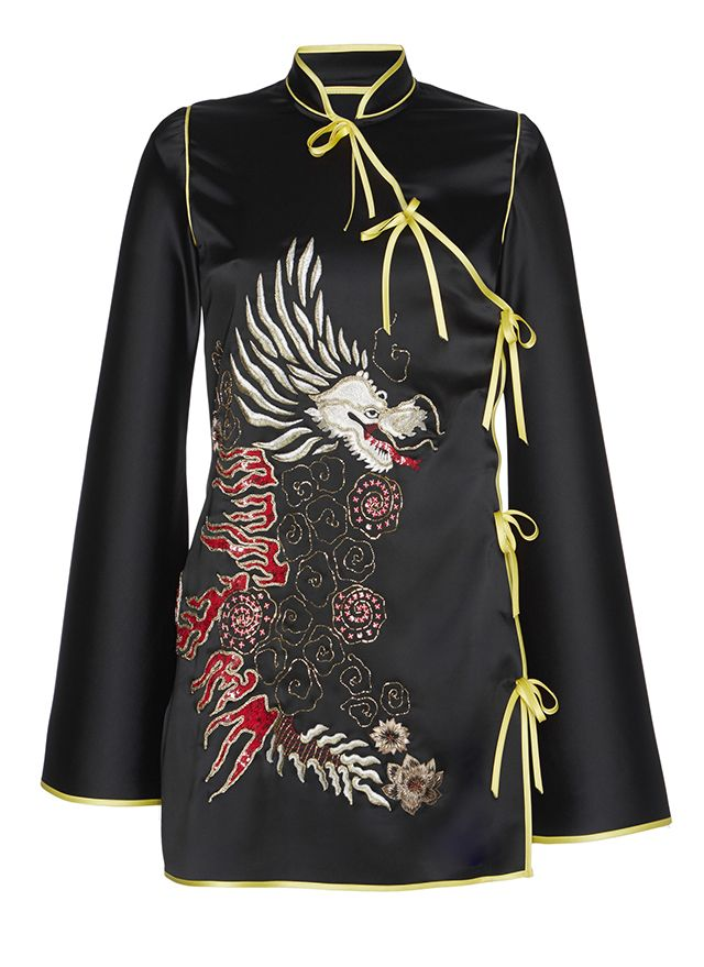 Stella Embroidered Kimono Satin Dress