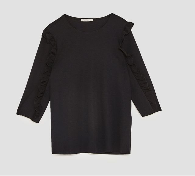 Zara Ruffled Poplin T-Shirt
