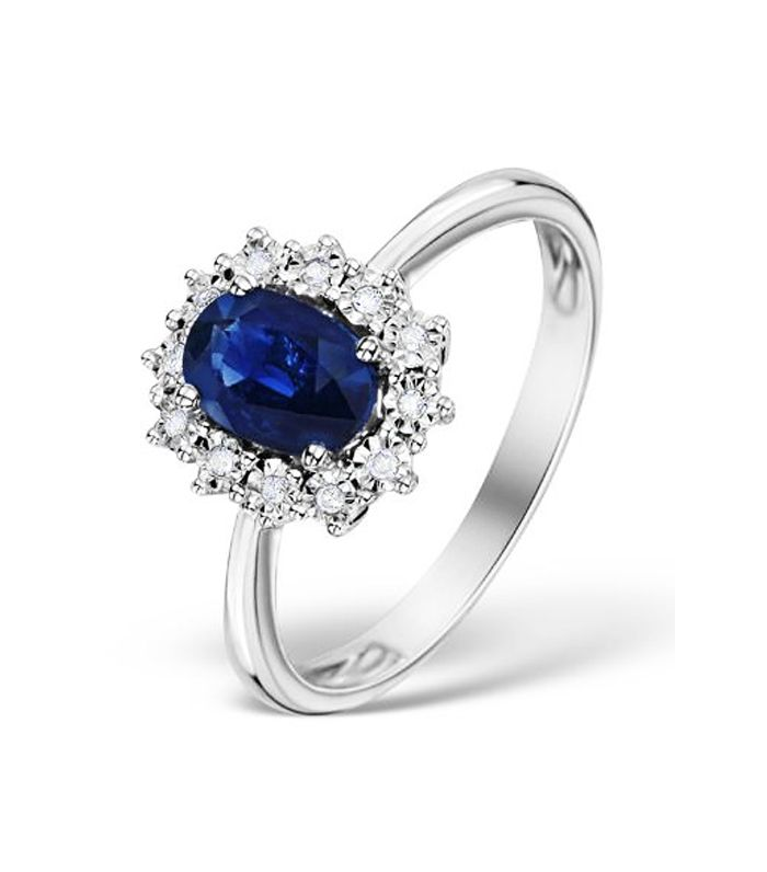 Blue pink diamond rings trend: The Diamond Store Sapphire 7 X 5mm And Diamond 9k White Gold Ring