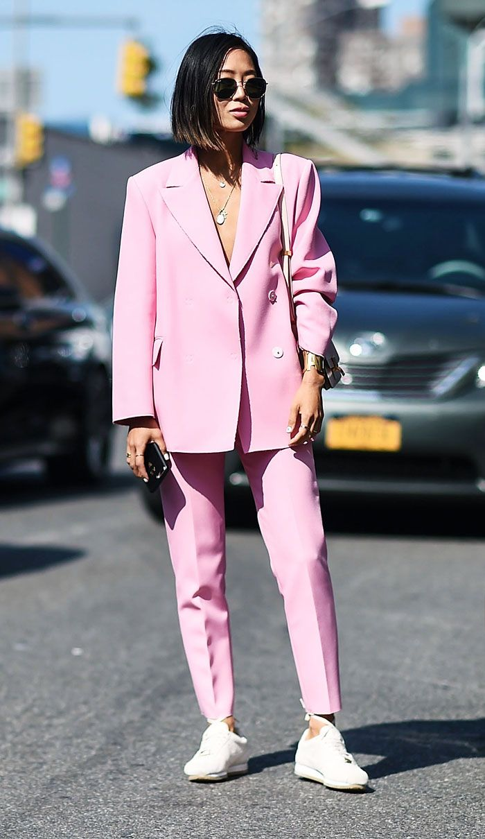 Best pink suits: Aimee Song