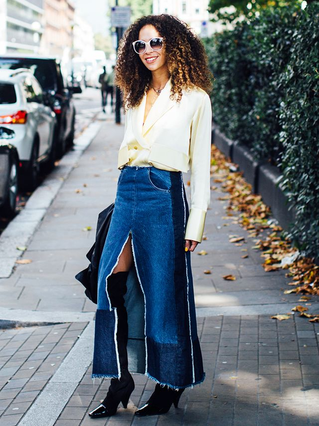 9 denimskirt outfits for fall  whowhatwear