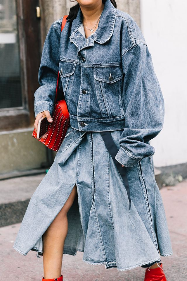 denim skirt with denim jacket