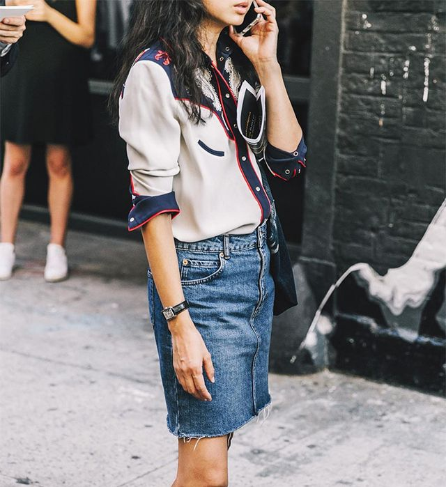 denim-skirt outfits for fall