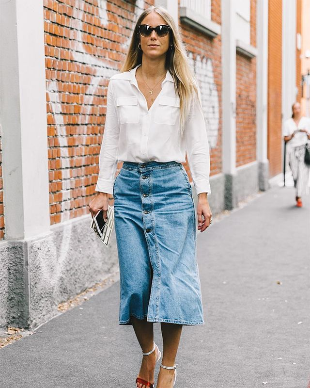 button-down denim skirt for fall