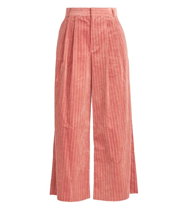 Muveil Wide-Leg Cropped Cotton-Corduroy Trousers