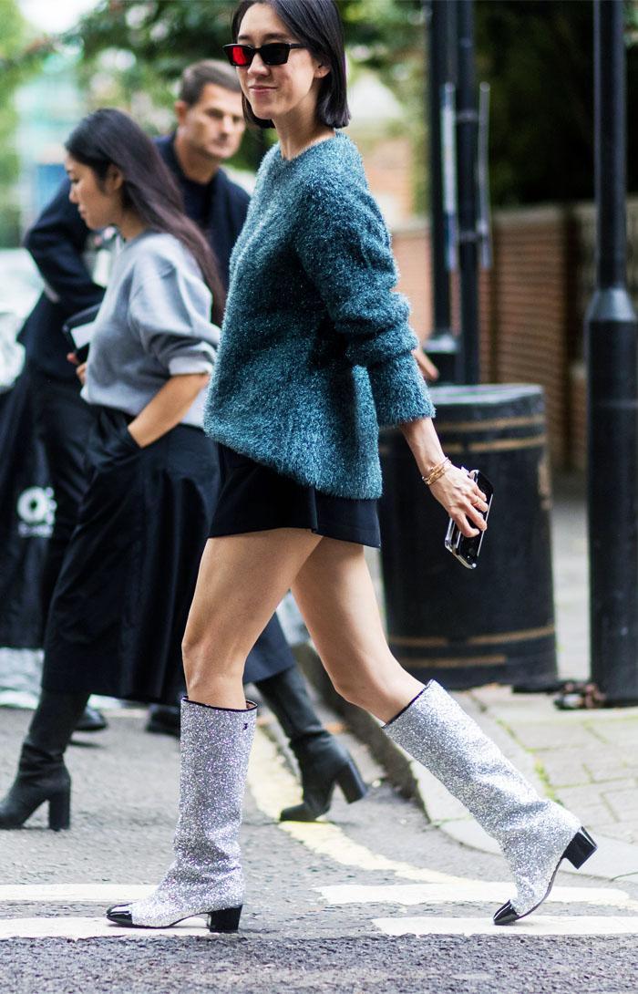 Glitter shoe trend: Eva Chen