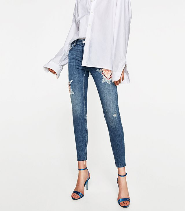Zara The Skinny Jeans With 3D Embroidery