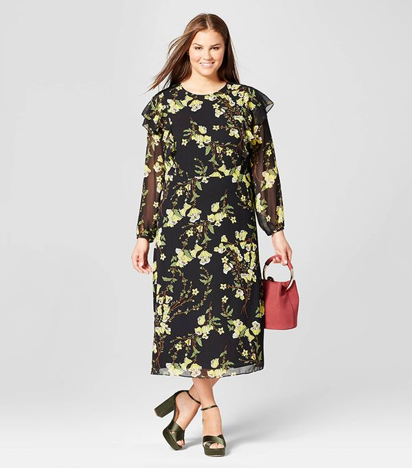 Plus Size Flutter Shoulder Dress