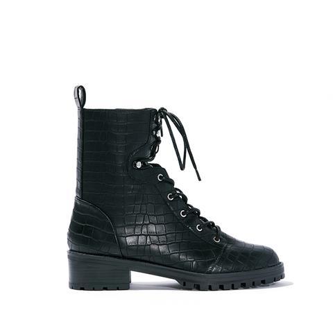 Violet Croc Combat Boots