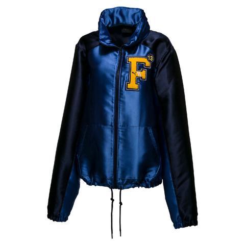 Blue Satin Hooded Jacket