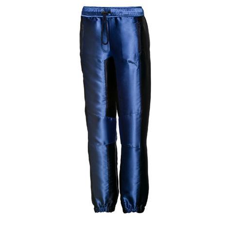 Blue Satin Track Pants