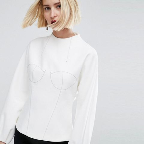 Long Sleeve Bodice Top With Stitch Detail