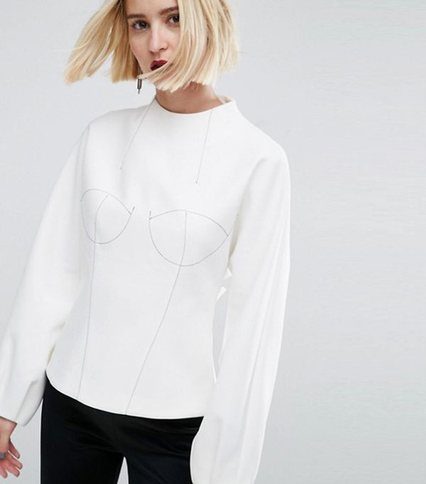 ASOS WHITE Long Sleeve Bodice Top With Stitch Detail