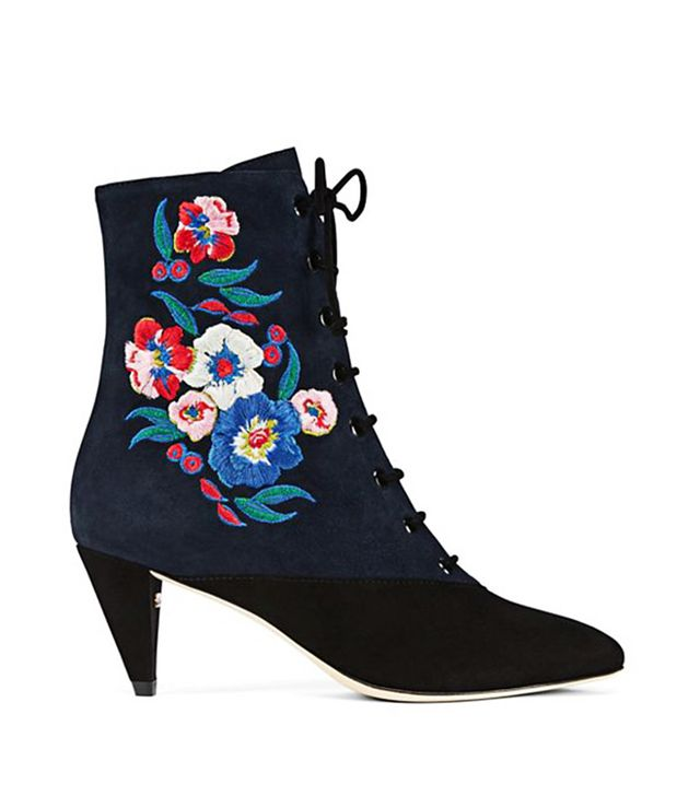 Tory Burch Cassidy Lace-Up Embroidered Bootie