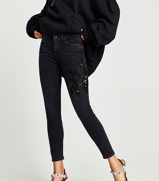 Zara The Skinny Jeans With Patches