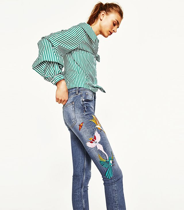 Zara The Skinny Jeans With Embroidery